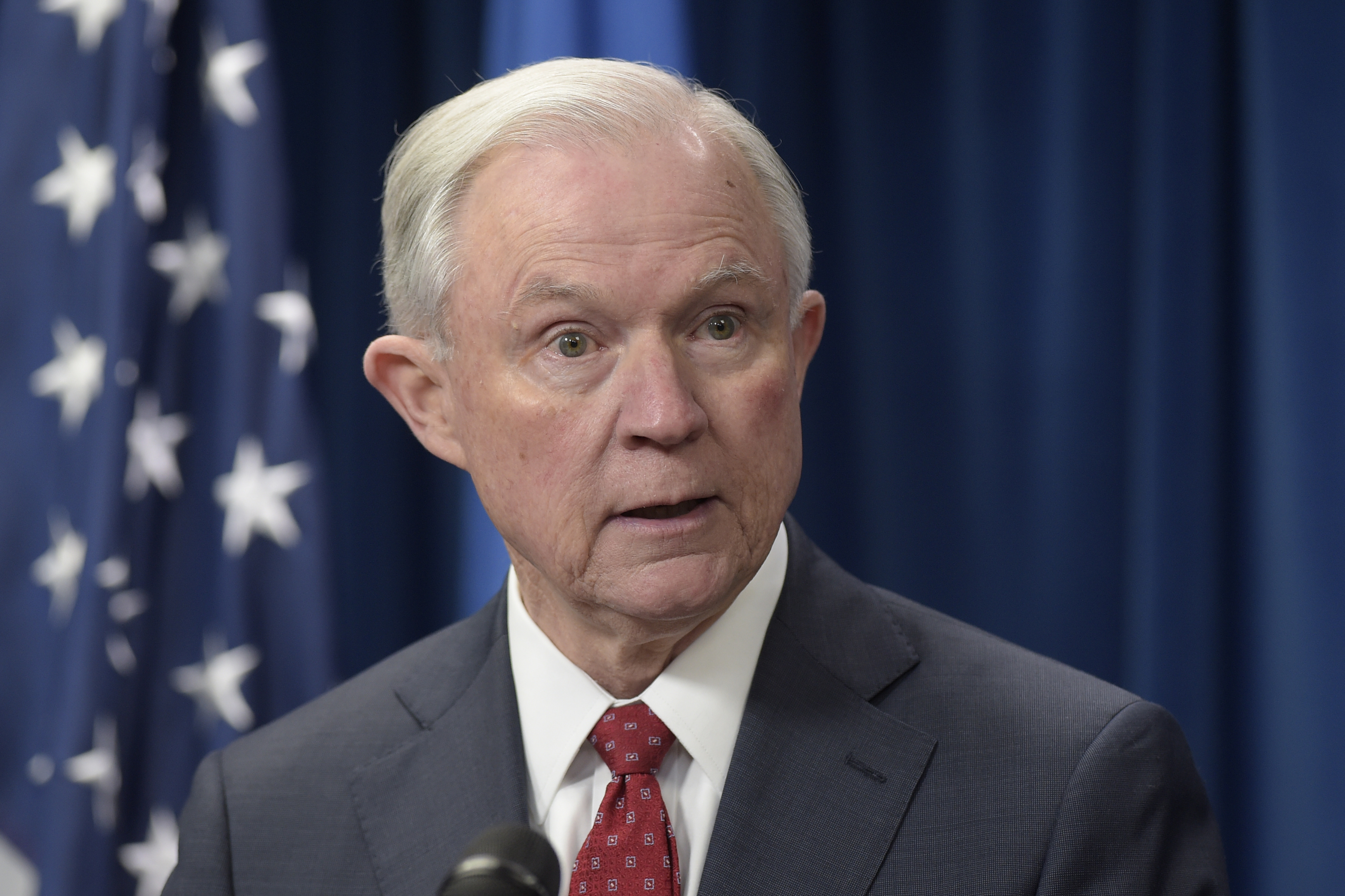 Attorney General Jeff Sessions speaks at the U.S. Customs and Border Protection office in Washington. Sessions whose contacts with Russia's ambassador to the U.S. during the presidential campaign has sparked questions agree