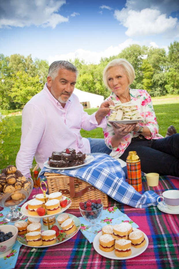 Just a little insanely elaborate picnic in the meadow for Paul Hollywood and Mary Berry. (PBS)