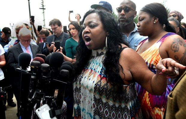 Valerie Castile, the mother of Philando Castile, expresses her anger as she speaks to the media after a not-guilty verdict in the trial of St. Anthony police officer Jeronimo Yanez at the Ramsey County Courthouse in St. Paul on June 16, 2017. Yanez was found not guilty in the fatal shooting of Philando Castile during a July 2016 traffic stop in Falcon Heights. (Jean Pieri / Pioneer Press)