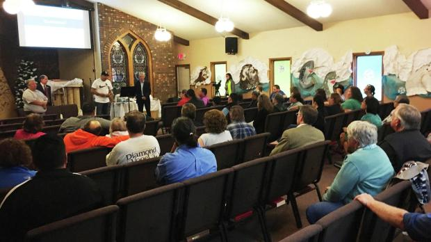 More than 60 people attended a meeting in Fond du Lac Wednesday night to discuss the disturbance of a graveyard at the site of the Minnesota Highway 23 reconstruction. (Brooks Johnson / Forum News Service)