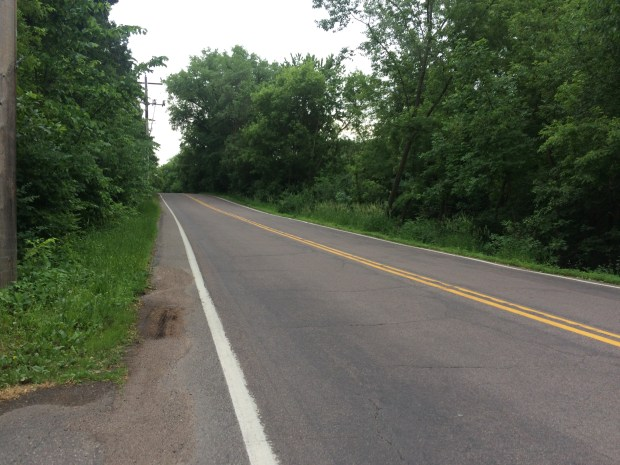 This tricky stretch of Minnesota 244 features a shoulder of a few inches on one side of the road and a steep drop into a ravine on the other side. The Lake Links Association wants bike and pedestrian paths built in the publicly-owned roadside land. (Pioneer Press: Sophie Carson)