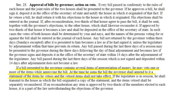 The Minnesota Constitution on line-item veto power.