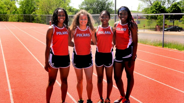 Pictured at practice on Tuesday, June 6, 2017, the North St. Paul quartet of freshman Shaliciah Jones, from left, eighth-grader Alexis Pratt, sophomore J'Anna Cager and junior Jebeh Cooke own the state record in the 4x200 meter relay and are closing in on the record in the 4x100 heading into this weekend's state track and field meet at Hamline University. (Jace Frederick / Pioneer Press)