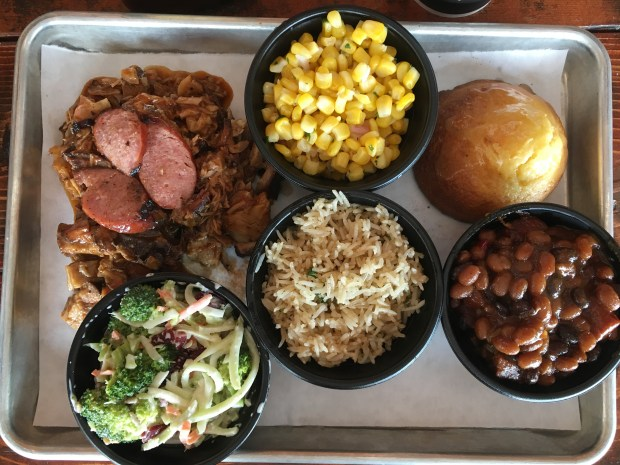 Memphis platter and sides from Old Southern BBQ in Hudson, Wis. on June 8, 2017. (Jess Fleming / Pioneer Press)