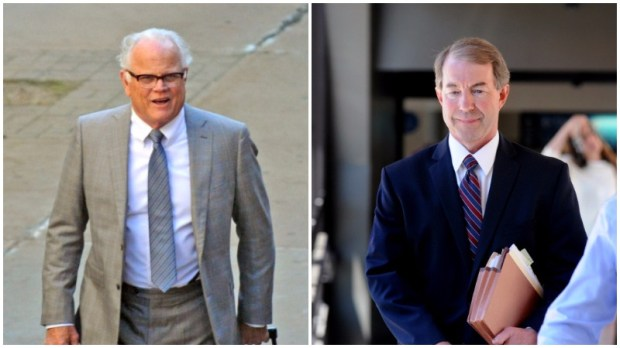 A photo combination shows criminal defense attorney Earl Gray, left, and State prosecutor Jeffrey Paulsen. Paulsen is an attorney for the prosecution in the manslaughter trial of St. Anthony police officer Jeronimo Yanez, who shot Philando Castile during a traffic stop. Gray is part of Yanez's defense team. (Dave Orrick / Pioneer Press)