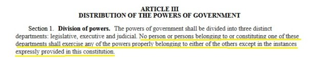 The separation of powers clause in the Minnesota Constitution.