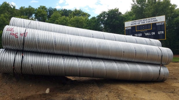 The specialized pipes have thousands of holes to allow storm water to slowly soak into the ground. (Courtesy of Capitol Region Watershed District)