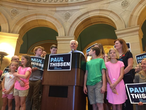 Surrounded by family and supporters, State Rep. Paul Thissen, a former House speaker who made a run for governor seven years ago, announces he will seek the state's highest office again at the State Capitol in St. Paul on Thursday, June 15. 2017. (Rachel E. Stassen-Berger / Pioneer Press)