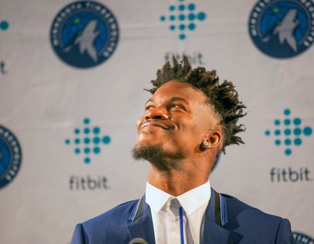 Minnesota Timberwolves new basketball point guard Jimmy Butler smiles at fans during a press conference at Mall of America in Bloomington, Minn., on Thursday, June 29, 2017.(AP Photo/Andy Clayton-King)