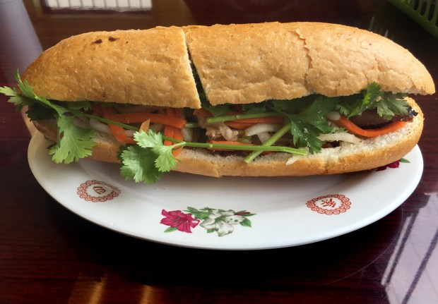 Grilled pork banh mi at Ai Hues Bakery & Deli in St. Paul, photographed July 2, 2017. (Nancy Ngo / Pioneer Press)