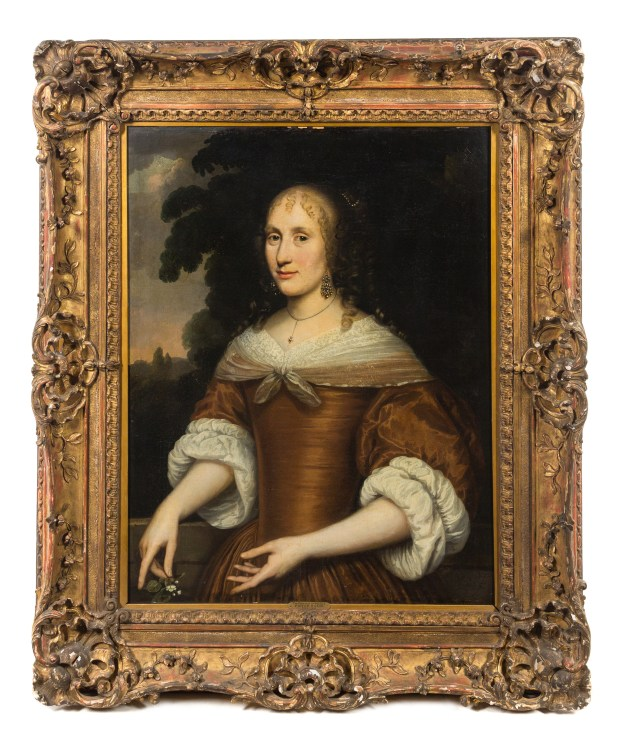 This 17th century oil painting of the Princess of Orange, by Dutch painter Pieter Nason, might be worth $3,000 to $5,000 at auction of the Mary Griggs Burke collection on July 17, 2017. (Leslie Hindman Auctioneers)