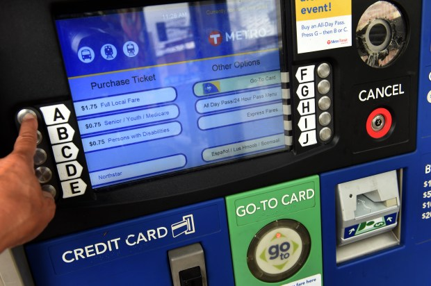 A Metro Transit ticket machine at the light rail station at University and Snelling Avenues in St. Paul is shown Wednesday, July 26, 2017. (Scott Takushi / Pioneer Press)