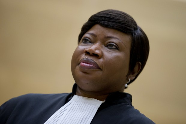 In this photo from Tuesday, Sept. 29, 2015, prosecutor Fatou Bensouda waits for former Congo vice president Jean-Pierre Bemba to enter the court room of the International Criminal Court in The Hague, Netherlands. (AP Photo/Peter Dejong, file)