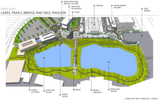An architectural rendering, circa March 2017, shows a land bridge at the Minnesota Vikings development in Eagan which puts the structure between two small lakes and includes areas for potential player tributes, as well as art installations and other attractions with heavy landscaping, part of the Minnesota Vikings practice facility under construction in Eagan. In 2015, the team announced it would relocate its headquarters and practice facility from Eden Prairie, its west metro home since 1981, to Eagan. In July 2017, the team announced it will be leaving Mankato, the Vikings training camp home for 52 years, and moving training camp to Eagan starting in 2018. (Courtesy of the Minnesota Vikings)