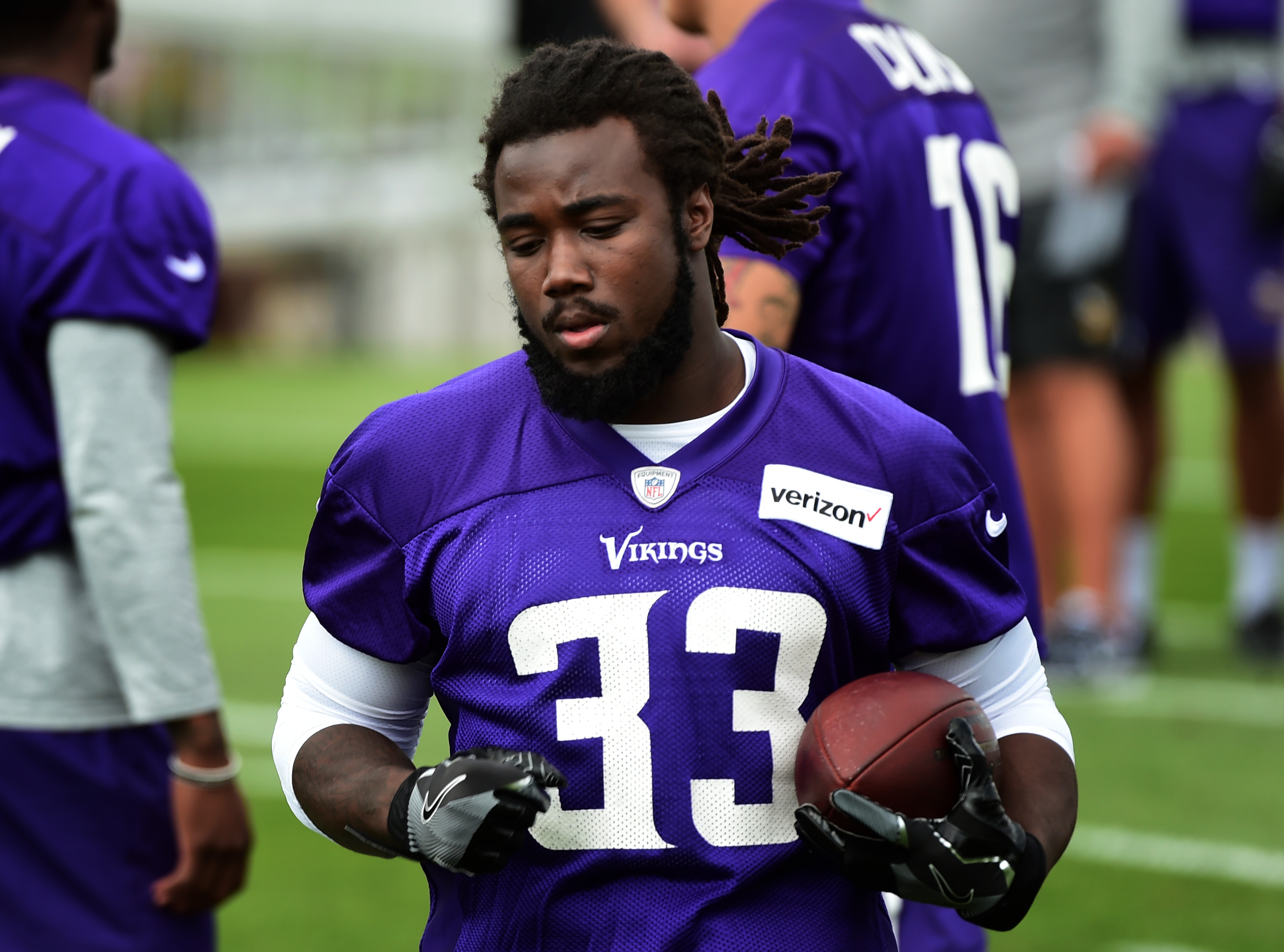 Running back dalvin cook works out during the first morning of minnesota vikings football training camp at state university in mankato also rookie rb listed as starter on depth chart rh twincities