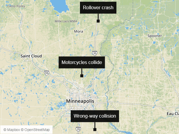 Three Twin Cities women, ranging in age from 19 to 77, were killed in separate crashes over a less than three-hour span Saturday, July 8, 2017, according to Minnesota State Patrol incident reports.