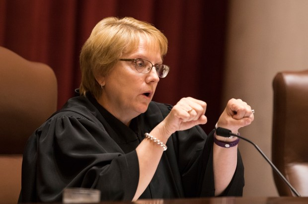 Chief Justice Lorie Skjerven Gildea asks questions during oral arguments in The 90th Minnesota State Senate, et al. vs. Mark B. Dayton, et al as the Minnesota Supreme Court meets at the State Capitol in St. Paul on Monday, Aug. 28, 2017. The Supreme Court heard oral arguments in the appeals case, a lawsuit filed by the Minnesota Legislature seeking to undo Minnesota Governor Mark Dayton's recent line-item veto of the state House and Senate's operating budgets. Legislative leaders allege Gov. Dayton's action violates the separation of powers between branches of government. (Pool photo / Leila Navidi)