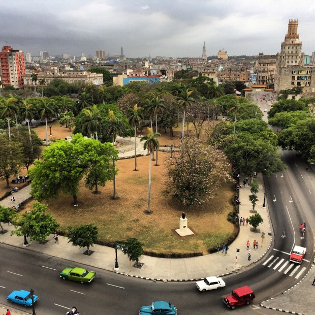 The rooftop view from Hotel Saratoga down to Parque de la Fraternidad in central Havana in April 2017. (Courtesy of Jackie Gaston)