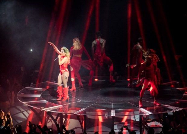 Pop star Lady Gaga performs for a sold-out crowd at St. Paul's Xcel Energy Center on Monday, Aug. 21.