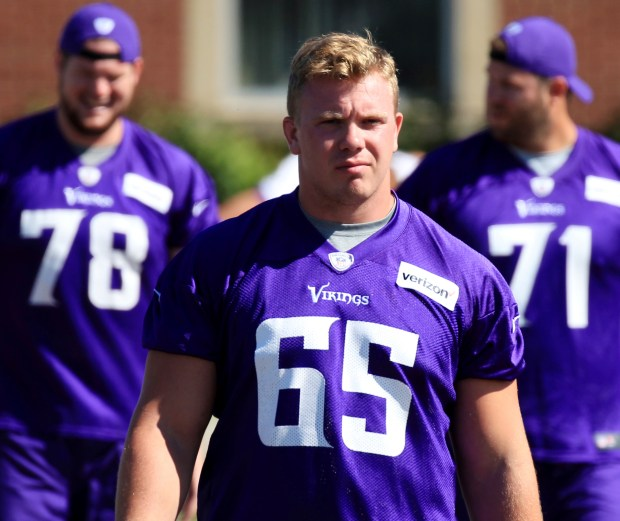 Minnesota Vikings center Pat Elflein (65) walks to practice during NFL football training camp Thursday, July 27, 2017, in Mankato, Minn. (Andy Clayton-King / Associated Press)
