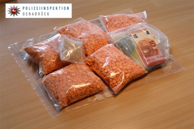 In this undated picture provided  by the Osnabrueck , Germany, police department,  ecstacy pills are on display. German police say they have seized thousands of ecstasy pills in the shape of President Donald Trump's head, a haul with an estimated street value of 39,000 euros ($45,900). Police in Osnabrueck, in northwestern Germany, say they found the drugs during a check Saturday Aug. 19, 2017  on an Austrian-registered car on the A30 highway. (Osnabrueck police via AP)