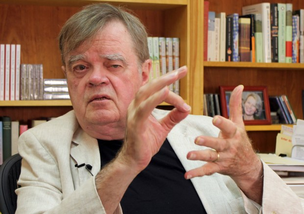 """In this July 26, 2017 photo, Garrison Keillor, creator and former host of, """"A Prairie Home Companion,"""" talks at his St. Paul, Minn., office. Now that he has hung up his microphone as host of his popular public radio show, Keillor, who turns 75 this month, will embark on a 28-city """"Prairie Home Love & Comedy Tour 2017,"""" which he vows will be his last. (AP Photo/Jeff Baenen)"""