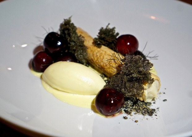 At Cerulean in Indianapolis: Goat cheese strudel – poached bing cherries, saffron anglaise, marzipan ice cream, black sesame praline, black sesame sponge. (Amber Gibson)