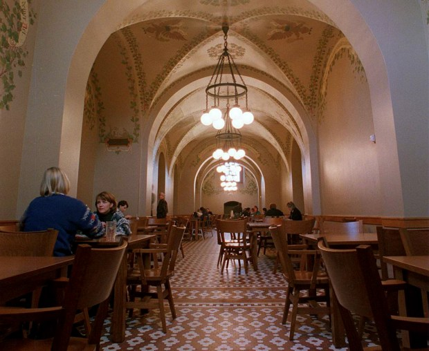 The newly rennovated Capitol cafeteria is shown in a Dec. 17, 1999 file photo with the restored Rathskeller look that had been painted over when the U.S. was fighting Germany in World War I. (Craig Borck / Pioneer Press)