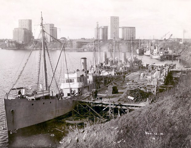Minesweepers being built for the French Navy are seen at the Canadian Car and Foundry in Fort William, Ontario (now Thunder Bay) in November 1918. (City of Thunder Bay Archives Accession #1991-1-360-77)