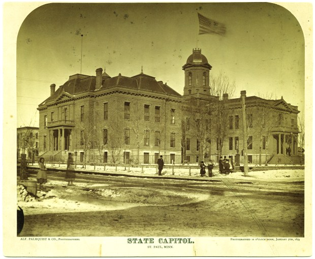 By the time it burned down in 1881, Minnesota's first Capitol was hardly recognizable. A series of additions to accommodate the growing state government had turned the once graceful building into a disorganized mess. (Courtesy of the Minnesota Historical Society)