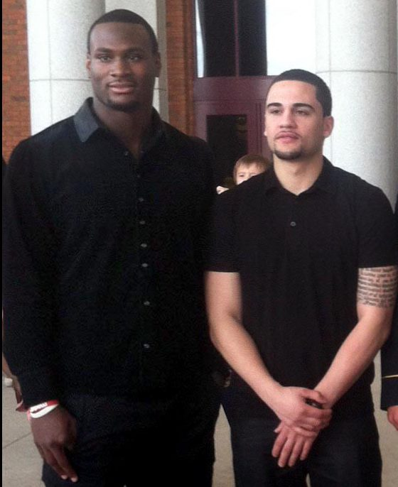 Latavius Murray, left, and Jonathan Diaz are shown in an undated family photo. Murray, a Minnesota Vikings running back, grew up with Diaz, and the two were best friends. Murray wears No. 25 in honor of Diaz, who was shot to death in the pair's hometown of Syracuse, N.Y., in Nov. 2016. 25 was Diaz's favorite number. Murray plans to establish a scholarship at the high school the two attended in Diaz's honor. (Courtesy of Diaz family)