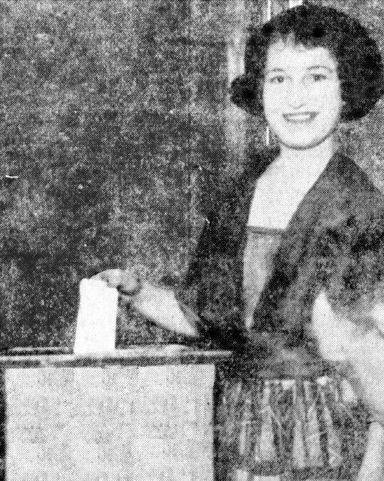 Marguerite Newburgh casts her vote at 6 a.m. Aug. 27, 1920, in a special election to build a South St. Paul water tower, becoming the first woman in the United States to vote under the 19th Amendment. (Courtesy of First in the Nation Suffrage Celebration)