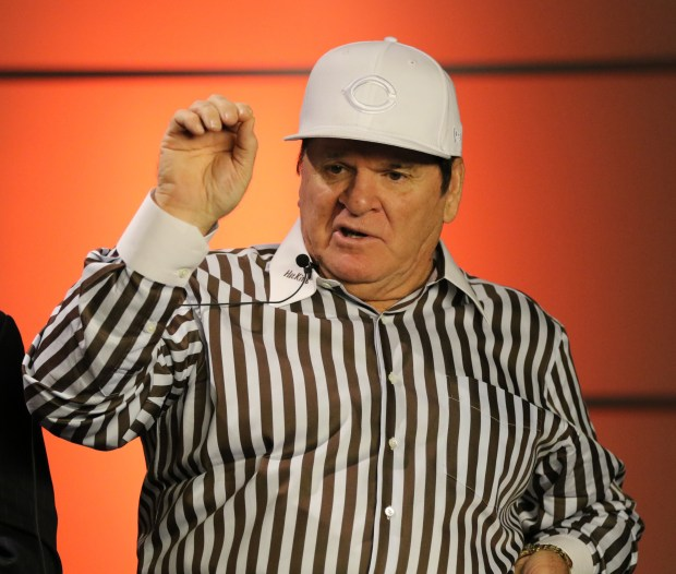 Former Cincinnati Reds player and manager Pete Rose tapes a segment for Miami Television News on the campus of Miami University, Monday, Sept. 21, 2015, in Oxford, Ohio. (AP Photo/Gary Landers)