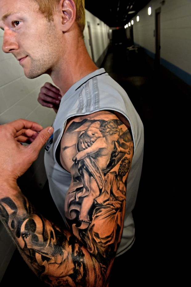 Minnesota United Pat McLain's first tattoo was a full sleeve down his left arm, representing the battle of good versus evil. The Eau Claire, Wis., native spent 12 hours with an artist and the extensive piece of work cost him in the ballpark of $2,000. (Jean Pieri / Pioneer Press)