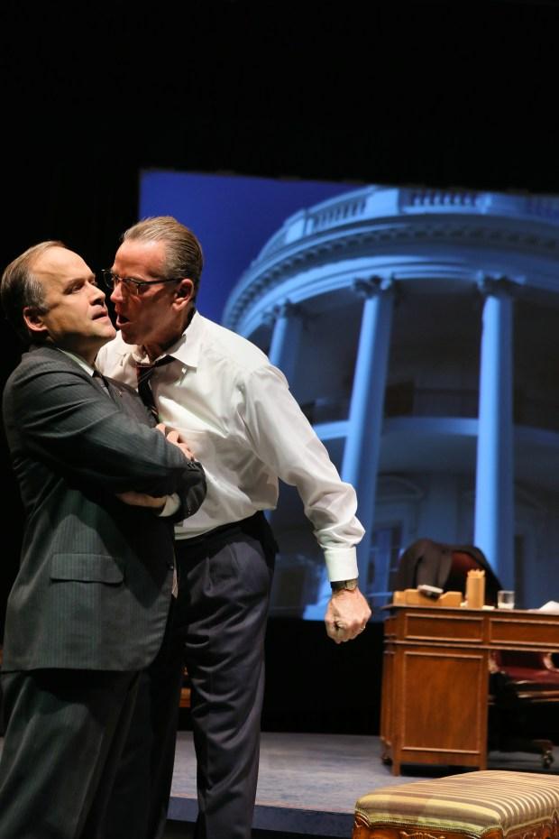 Andrew Erskine Wheeler, left, as Hubert H. Humphrey and Pearce Bunting as Lyndon B. Johnson. (Photo by Scott Pakudaitis