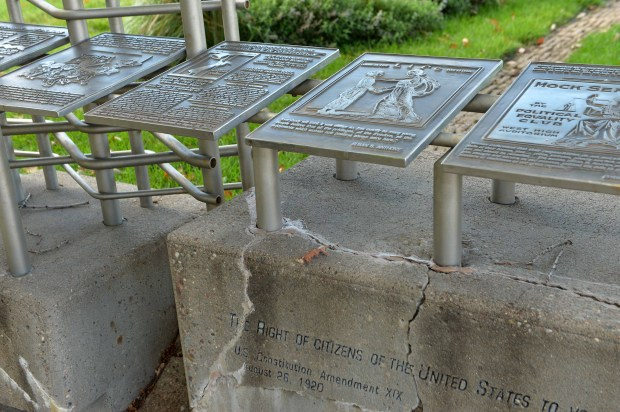 The Woman Suffrage Memorial Garden at the intersection of Cedar Street and Rev. Dr. Martin Luther King Boulevard, dedicated in 1998 to the women who fought for the right to vote, has a rusting lattice steel wall embedded in concrete that is cracking. ( Scott Takushi: Pioneer Press)