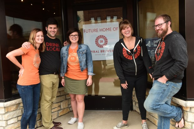 From left, Amy Fox, Nick Fox, Jen Fox, Claire Sandahl and Luke McGuire are opening Spiral Brewery in downtown Hastings, hoping for an opening sometime later in the year. They're pictured Monday, Sept. 25, 2017. (Pioneer Press: Scott Takushi)