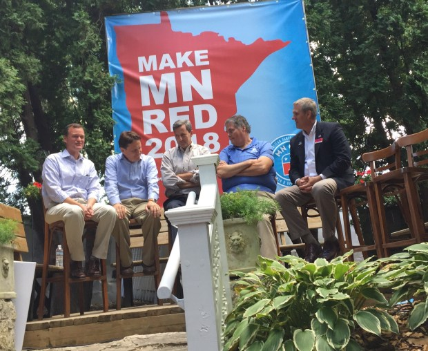 Republican candidates for Minnesota governor at a GOP forum at the Minnesota State Fair, Sept. 4, 2017 (Pioneer Press)
