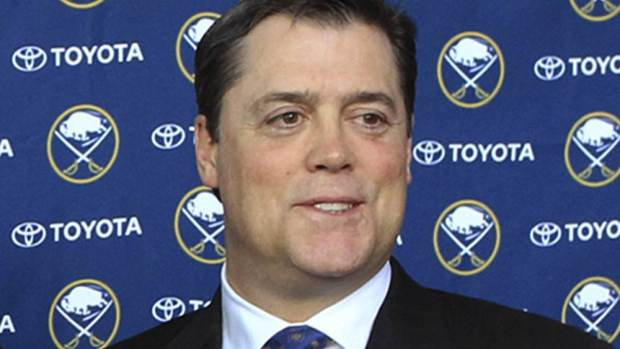 "FILE - In this Jan. 9, 2014, file photo, Pat LaFontaine poses after a news conference in Buffalo N.Y. The NHL and NHL Players' Association have unveiled a ""Declaration of Principles"" to guide hockey culture across various levels of the sport. Hockey Hall of Famer Pat LaFontaine, now the league's vice president of hockey development, was a driver behind the process. (AP Photo/Nick LoVerde, File)"