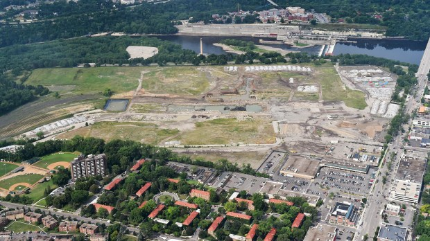 An aerial view of the old Ford Plant site in St. Paul's Highland Park, photographed on Thursday, July 20, 2017. (John Autey/Special to the Pioneer Press)