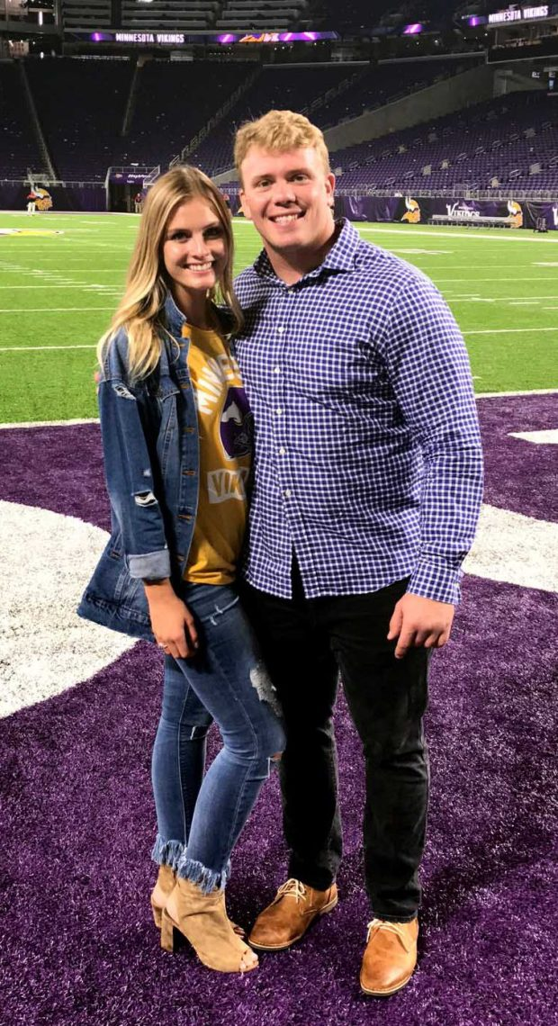 Minnesota Vikings center Pat Elflein, right, and his girlfriend, Emily Lachey, at U.S. Bank Stadium in Minneapolis following an Aug. 27, 2017 preseason game against San Francisco. (Courtesy of Emily Lachey)