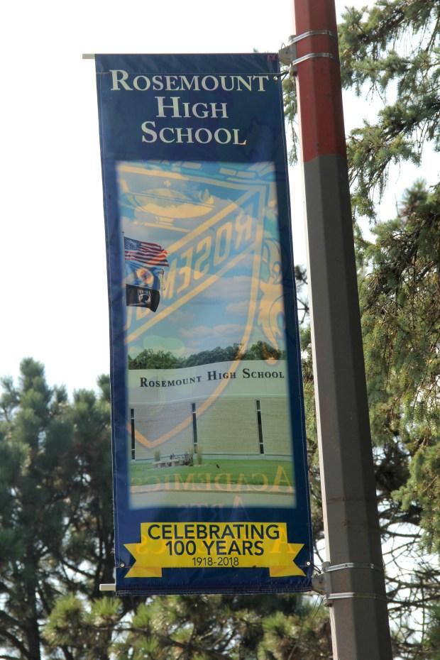 A banner near Rosemount High School celebrates its 100th anniversary. (Christopher Magan / Pioneer Press)