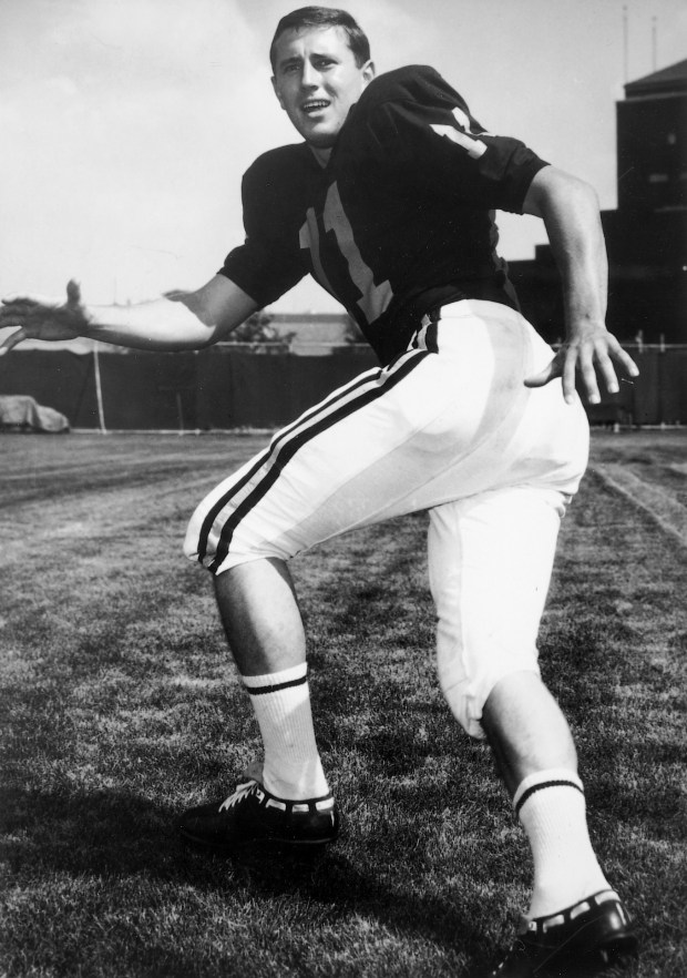 Undated black and white courtesy photo of Minnesota football captain Tom Sakal posing for a photo before the Gophers won their last Big Ten title in 1967. (Courtesy of University of Minnesota Athletics)