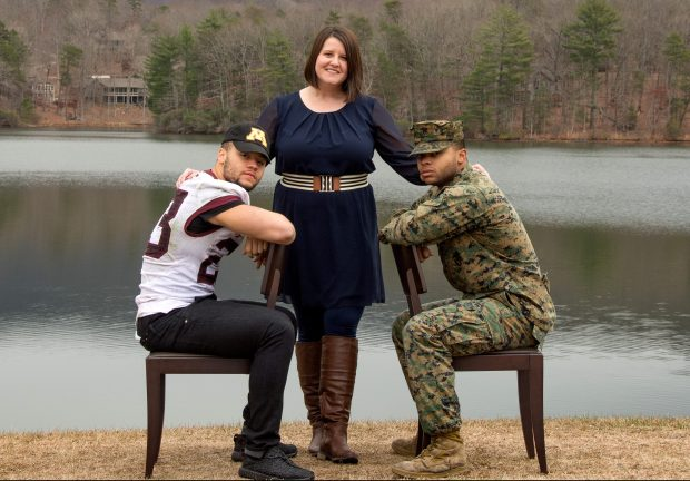 Minnesota Gophers running back Shannon Brooks, left, poses with his guardian Melissa Weeks and his brother Kalyn Brooks, a U.S. Marine, in a photo taken in Jasper, Ga., in January 2017. Brooks overcame a hard childhood in Georgia, with an absent mother and a guardian who stepped up to raise him and his brother. He recovered from a nasty broken leg in high school to become one of the Gophers best players. (Courtesy of Melissa Weeks via Monica Helsby Photography)