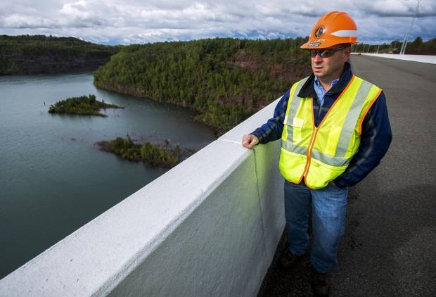 Patrick Huston, Highway 53 project director, talks about the final work being performed on the project on Sept. 5, 2017. (Derek Montgomery / MPR News)