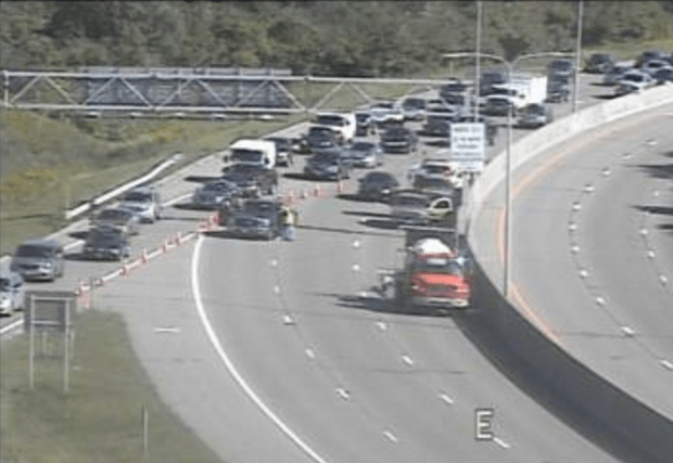 U.S. Highway 12 was closed both ways near Minnesota 101 / Central Avenue in Wayzata following a crash that led to a Wayzata police officer being killed Friday, Sept. 8, 2017, as shown on a Minnesota Department of Transportation traffic camera. (Courtesy of MnDOT)