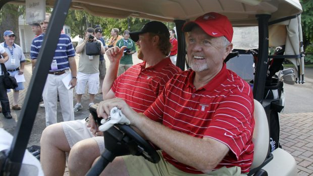Bert Blyleven, right, and his son Todd drive off after teeing off at Leatherstocking Golf Course in Cooperstown, N.Y., on Saturday, July 23, 2011. Blyleven, who helped pitch the 1987 Minnesota Twins to a World Series and had 287 victories in his Major League Baseball career, will be inducted into the Baseball Hall of Fame on Sunday. (AP Photo/Mike Groll)