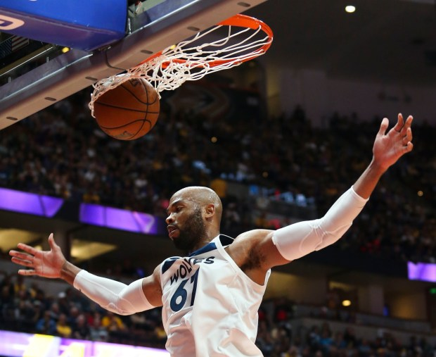 Minnesota Timberwolves forward Taj Gibson #67 in actions during an NBA preseason basketball game between Los Angeles Lakers and Minnesota Timberwolves in Anaheim, Calif., Saturday, Sept. 30, 2017. (AP Photo/Ringo H.W. Chiu)