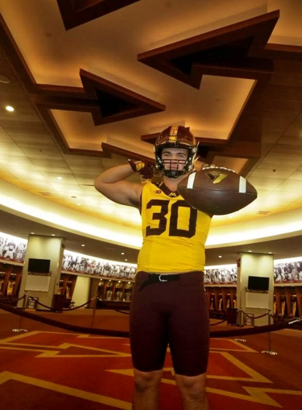 Dayton, Ohio defensive end Alex Reigelsperger gave an oral commitment to join the Gophers' 2018 recruiting class on Sunday, Oct. 15, 2017. He posed in a Gophers uniform during his visit last weekend. (Courtesy of Alex Reigelsperger)