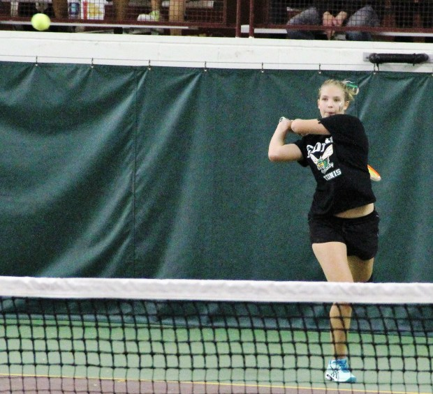 Edina's Andrea Jansson defeated St. Cloud Tech's Natalie Peterson, 6-2, 6-0 at No. 4 singles during the Hornets' 7-0 win in the Class 2A state title match Wednesday at Baseline Tennis Center. (Jace Frederick / Pioneer Press)
